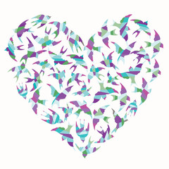 Heart shape made of colorful birds