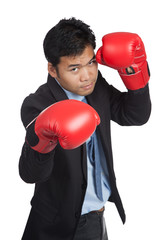 Asian businessman ready to fight