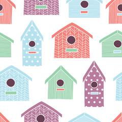 Birdhouses seamless pattern