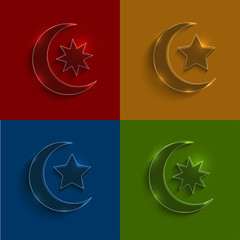 Vector glass ramadan icons set.