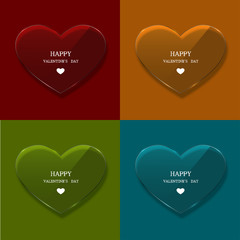 Vector glass heart set on sample background