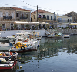 colorated boats in a little harbor of Peloponnese