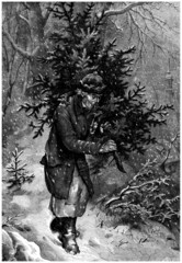 Peasant with a Christmas-Tree - 19th century