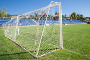 Net soccer goal football green grass