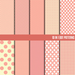 10 in 1 dot pattern. Seamless dots patterns. Vector background