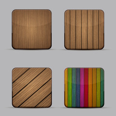 Vector modern wooden icons set on gray background