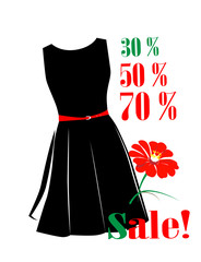 Sale poster with percent discount and black dress