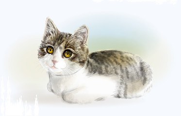 Lying funny  kitten. Watercolor style.