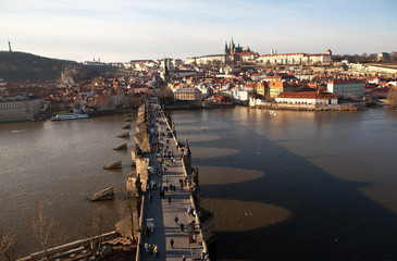 View of the Lesser Town with the Old Town Bridge Tower. Prague.