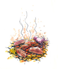 bbq, charcoal barbeque illustration