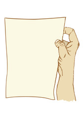 Cartoon hand holding a piece of paper
