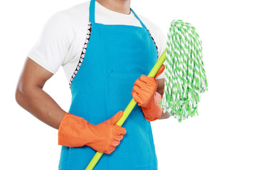 man's body with mop cleaning equipment