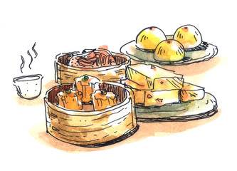 Chinese food, dim sum illustration