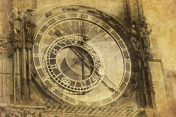 Vintage image of Prague Astronomical Clock, Orloj,  in the Old T