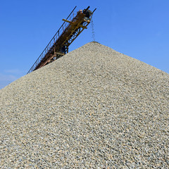 A pile of washed river gravel