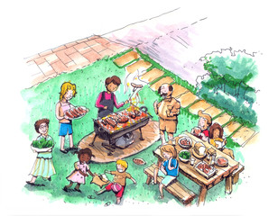 Barbecue party at the yard illustration 4th of July