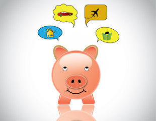 happy piggybank planning to buy home car education and travel