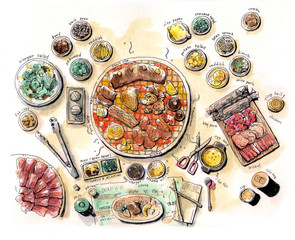 korean bbq illustration color
