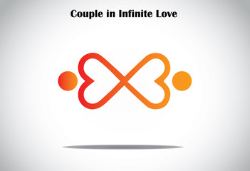 man woman couple holding hands in infinite love concept symbol