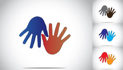 colorful two human hands supporting family friends concept art