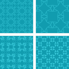 Teal seamless pattern background set