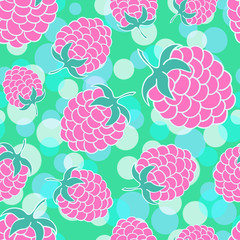 Green summer seamless background with appetizing raspberries