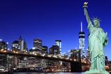 Brooklyn Bridge and The Statue of Liberty at Night - 66914809