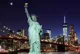 Brooklyn Bridge and The Statue of Liberty at Night - 66914825