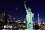 Brooklyn Bridge and The Statue of Liberty at Night - 66914852