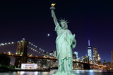 Brooklyn Bridge and The Statue of Liberty at Night - 66914878
