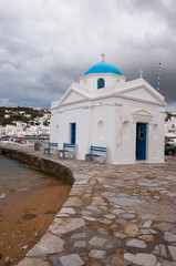 Church on port in Mykonos