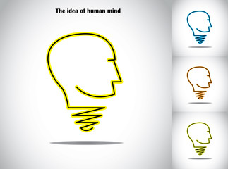 human head light bulb idea abstract concept illustration art