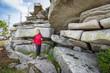 Nordic Walking between big Rocks