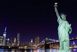 Brooklyn Bridge and The Statue of Liberty at Night - 66915076