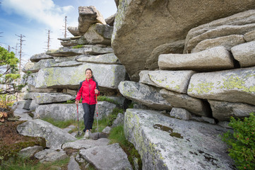 Nordic Walking between big Rocks