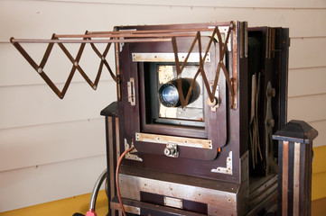 Antique view camera with leather bellows