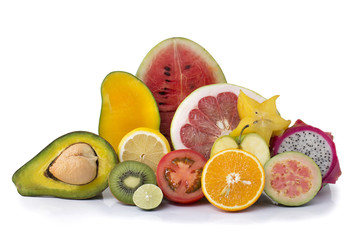 Assortment of exotic fresh fruits sliced