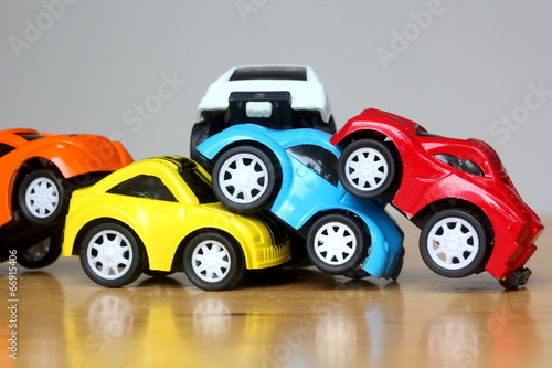 Car Accident concept image with colorful miniature cars - 66915406
