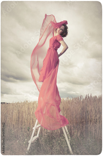 canvas print picture Beautiful woman in red dress background