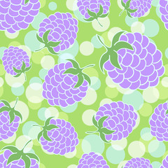Green summer seamless background with appetizing blackberries