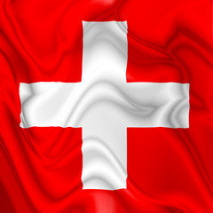 Switzerland Swiss waving silk Flag