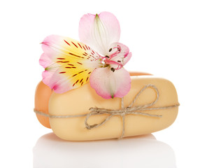 Alstroemeria and two pieces of the soap
