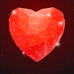 Big Red Shiny Diamond Heart