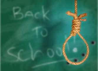Rope noose on green grunge black-board
