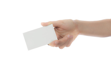 Hand holding empty card