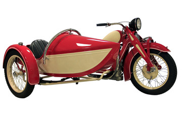 red vintage motorcycle with sidecar
