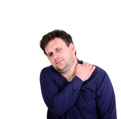 Portrait of young businessman with neck pain isolated on white