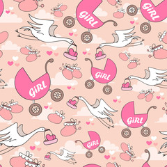 Vector pattern in girls style for use in design