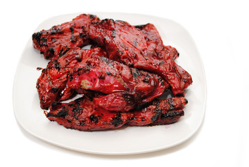 Chinese Barbequed Pork Ribs on a Plate