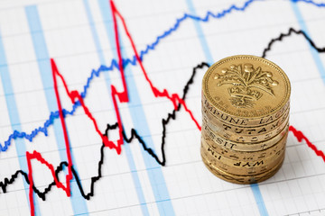 Business graph and pound coins
